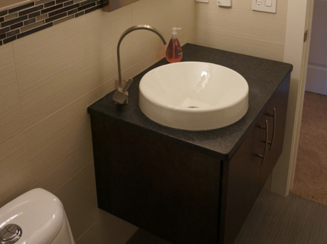 Opalescent granite bathroom sink