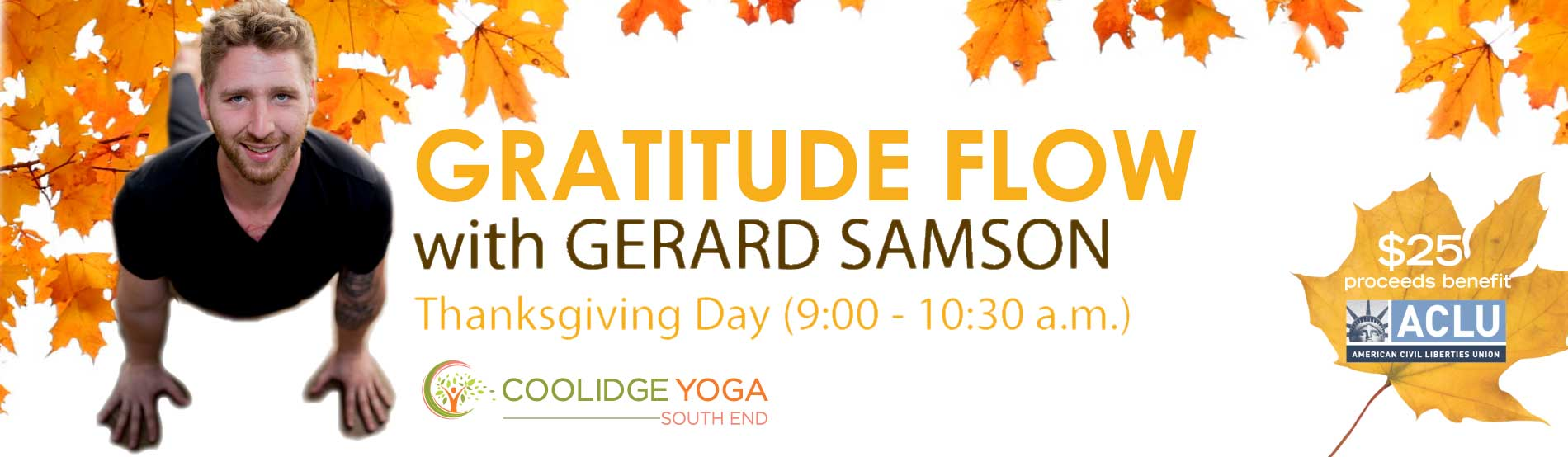 Gratitude Flow with Gerard in South End on Thanksgiving