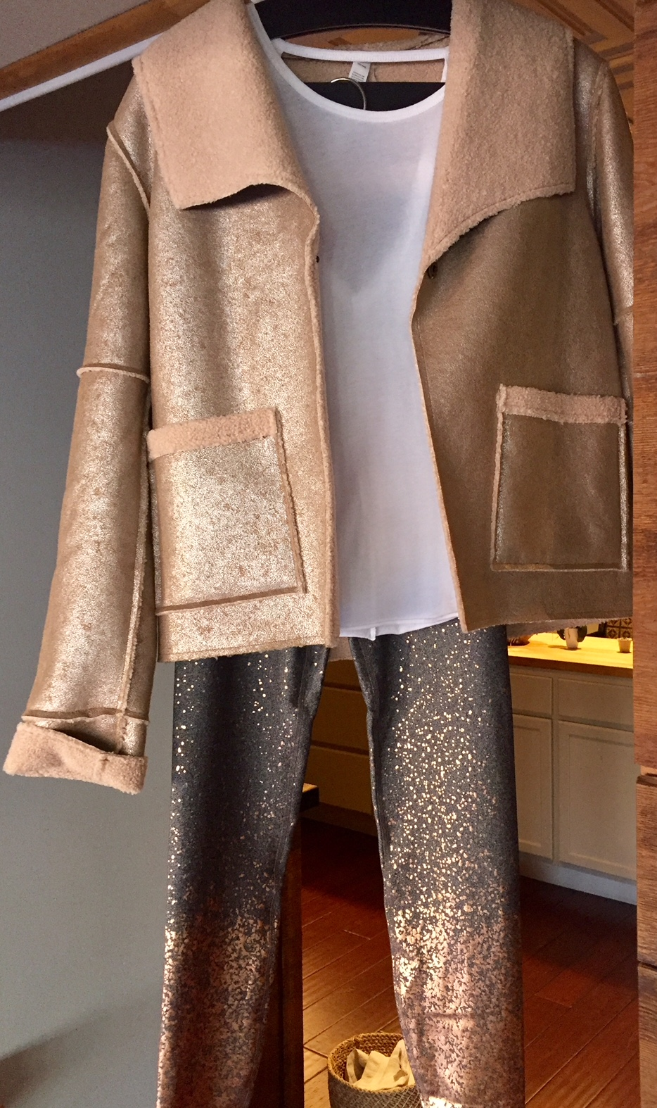 manduka faux shearling jacket and beyond yoga leggings at Coolidge Yoga
