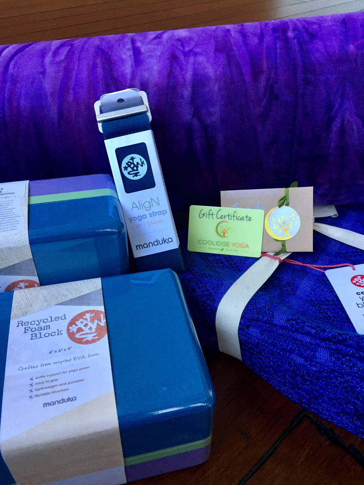 Yoga props for home and gift card at Coolidge Yoga