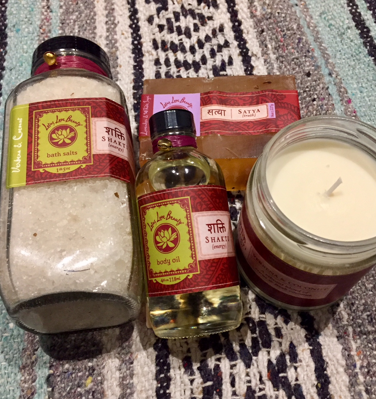 Love Lotus Beauty essential oil and bath salts at Coolidge Yoga