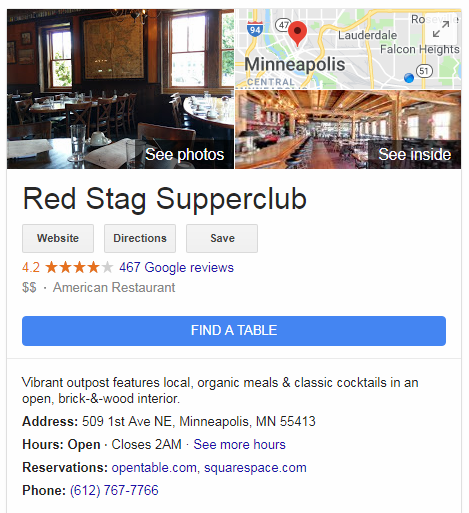 screenshot of reservation integrations with Google My Business