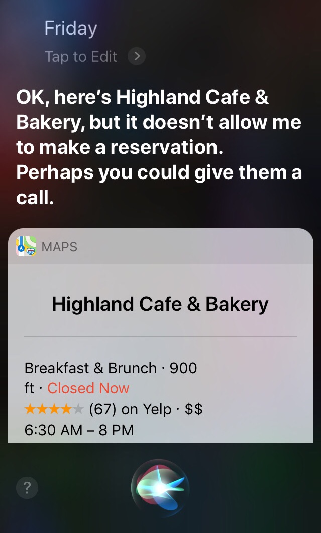 Siri results for making reservations