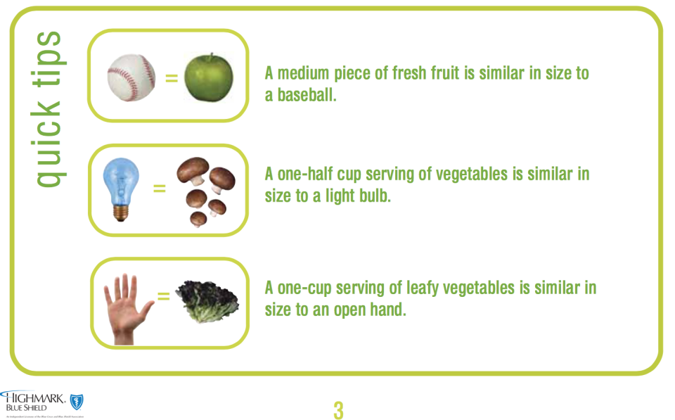 Bloomsburg Visual Serving Size Veggies Fruit