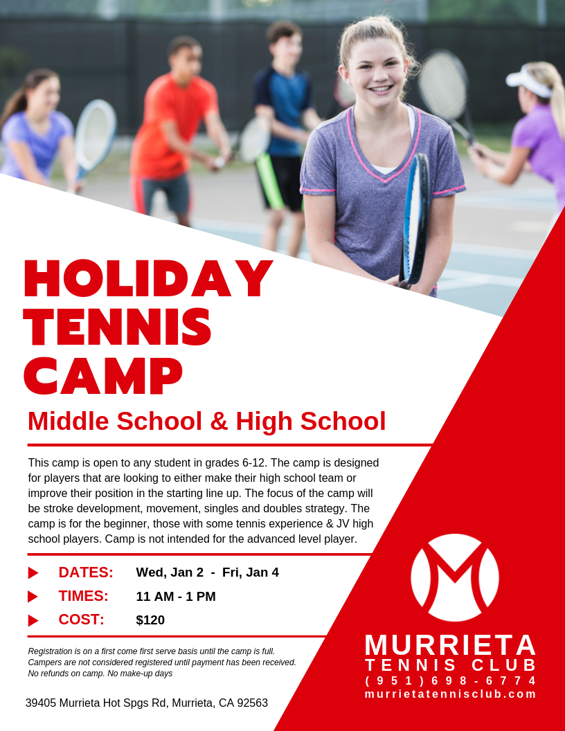 2019 Winter Holiday Tennis Camp
