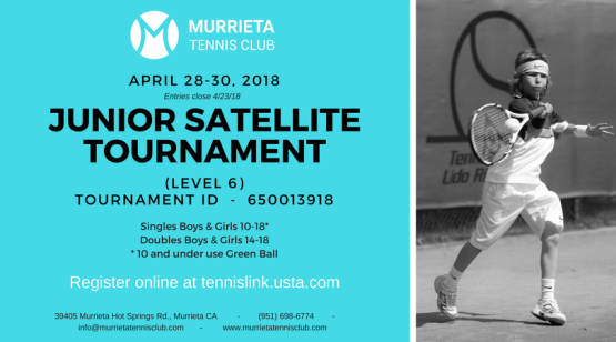 MTC Junior Satellite Tournament (Level 6),  April 28030, 2018