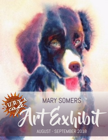 View watercolor art of Mary Somers in Surya Cafe