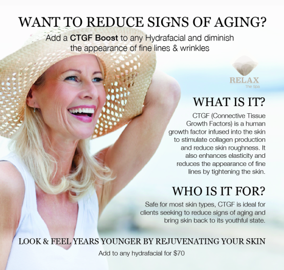 CTFG, Hydrafacial, connective tissue growth factor, reduce signs of aging