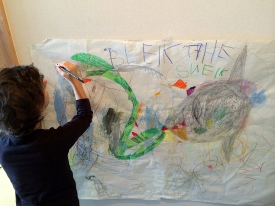Child Doing Painting for Blake the Snake Book Cover