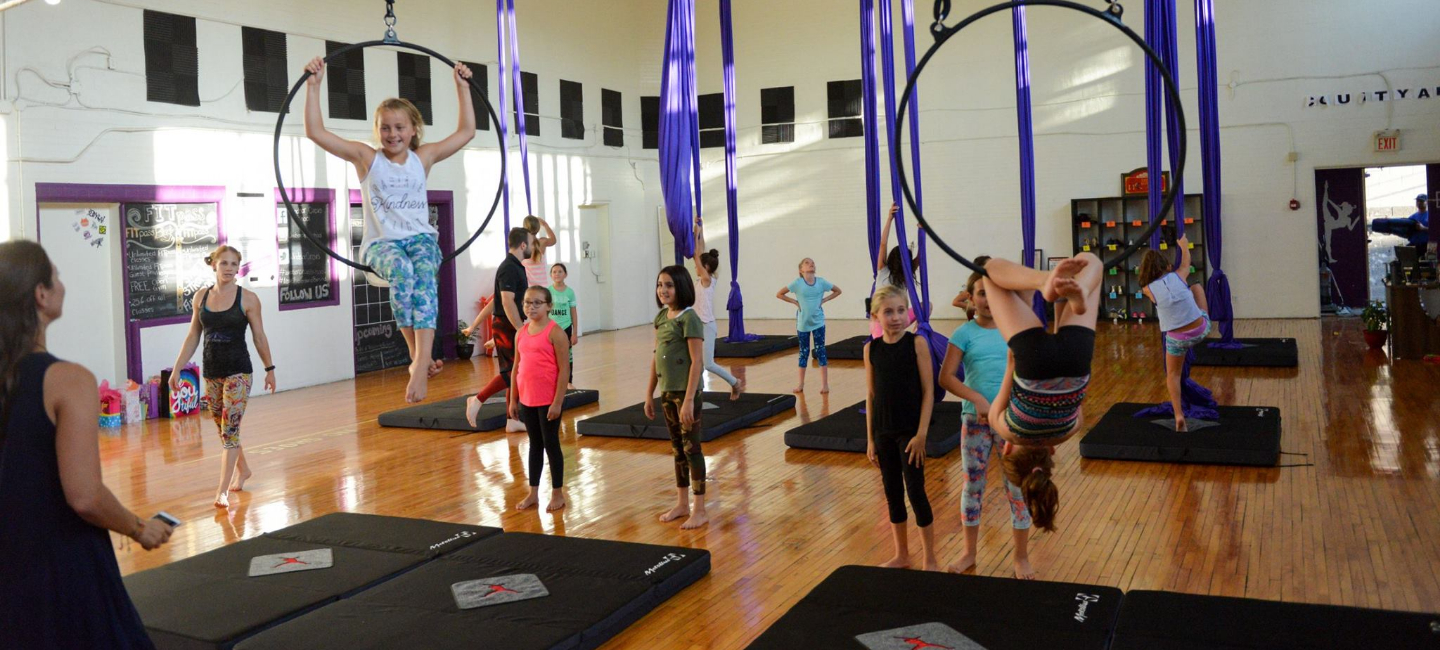 Lyra (Aerial Hoop) Class in Session During a Kid's Party at Windsor Circus School