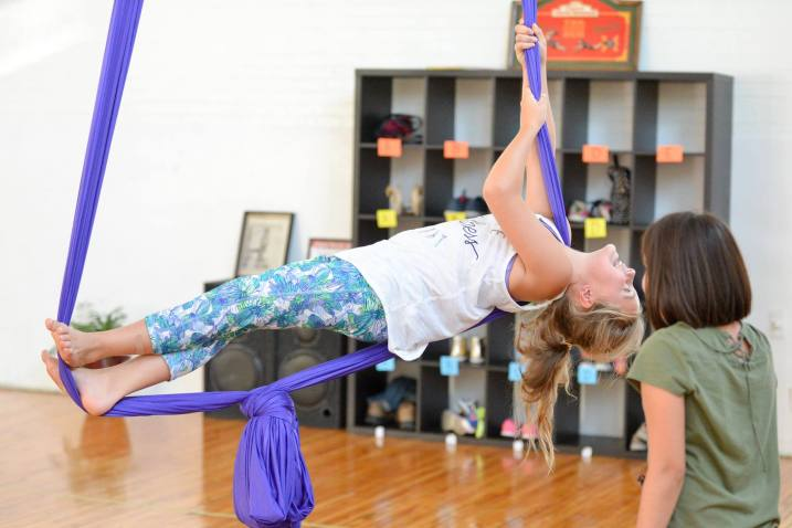 Enjoying Aerial Silks During a Kid's Party at Windsor Circus School
